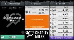 Charity Miles apikacija